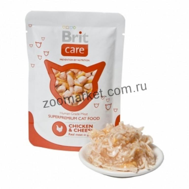 Brit Care Cat/Высококачественный влажный корм с курицей и сыром для взрослых кошек, 80 гр 6 шт.