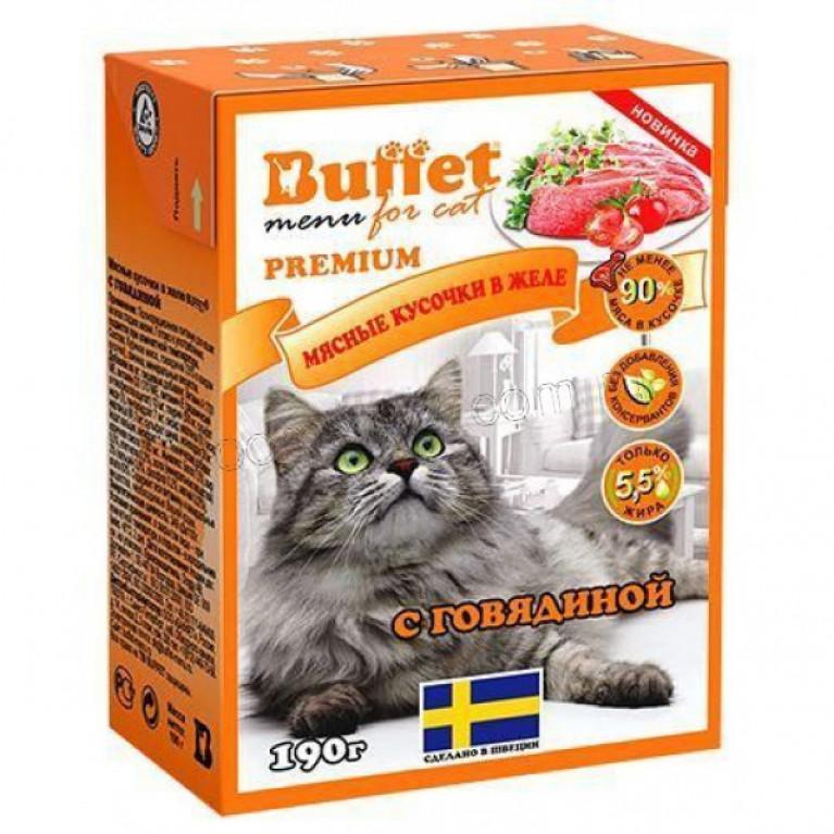 Buffet Консервированный корм для кошек мясные кусочки в желе с говядиной 190 гр