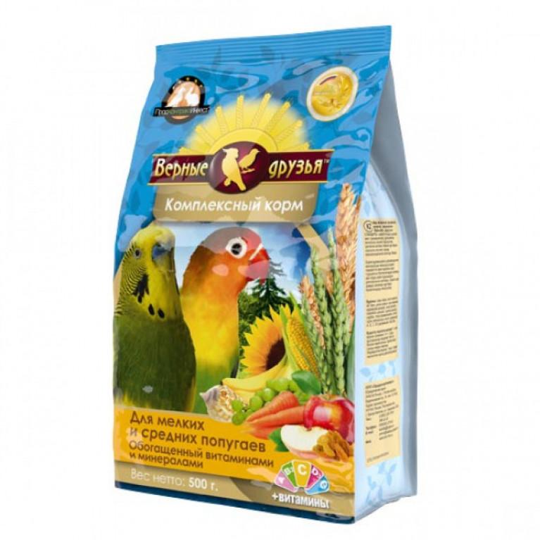 Верные Друзья корм для мелких и средних попугаев с витаминами и минералами 500гр