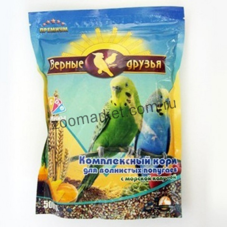 Верные Друзья Премиум Комплексный корм для волнистых попугаев с морской капустой, 500 гр