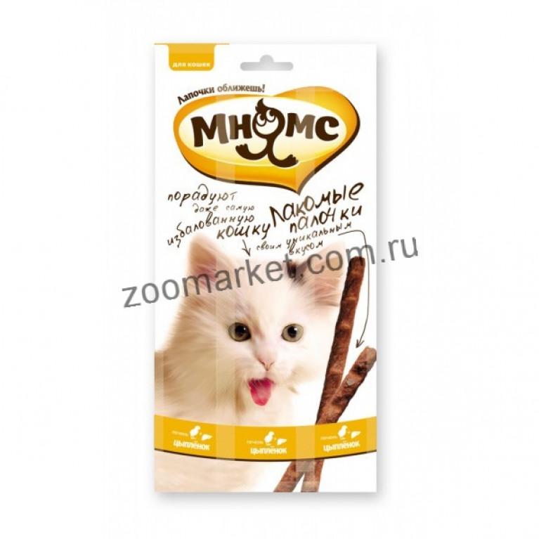 Мнямс Лакомые палочки для кошек (Цыпленок, печень) 13,5 см 1 шт.