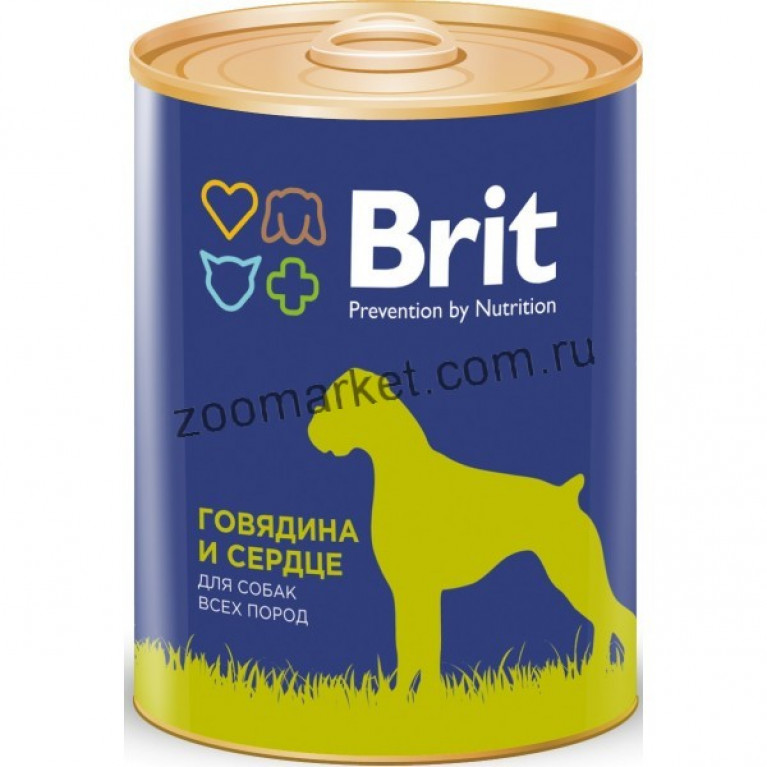 Brit Premium Red Meat & Liver/Консервы для собак Говядина и сердце, 850 гр