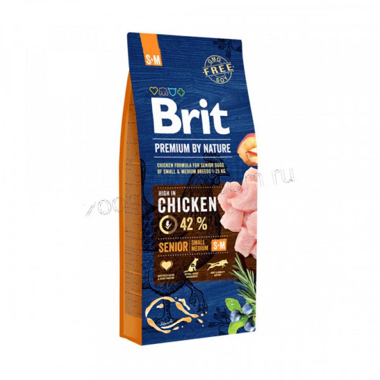Brit Premium Senior S + M/ Полноценный корм для стареющих собак мелких и средних пород