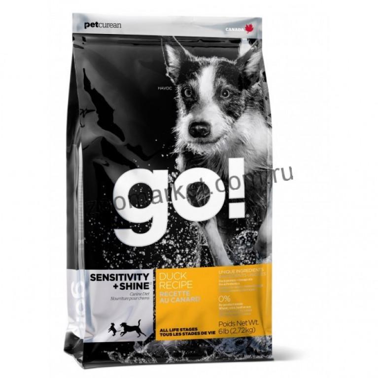 GO!  Sensitivity   Shine Duck Dog Recipe 22/12 / Корм для щенков и собак с цельной уткой и овсянкой