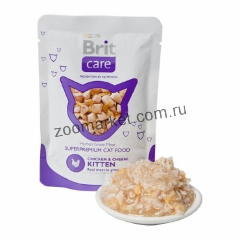 Brit Care Cat/Высококачественный влажный корм с курицей и сыром для котят, 80 гр 6 шт.