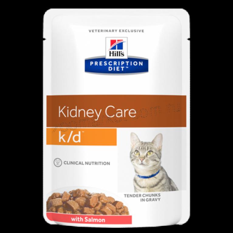 Hill's Prescription Diet K/D Пауч для кошек лечение заболеваний почек (Лосось) 85 гр