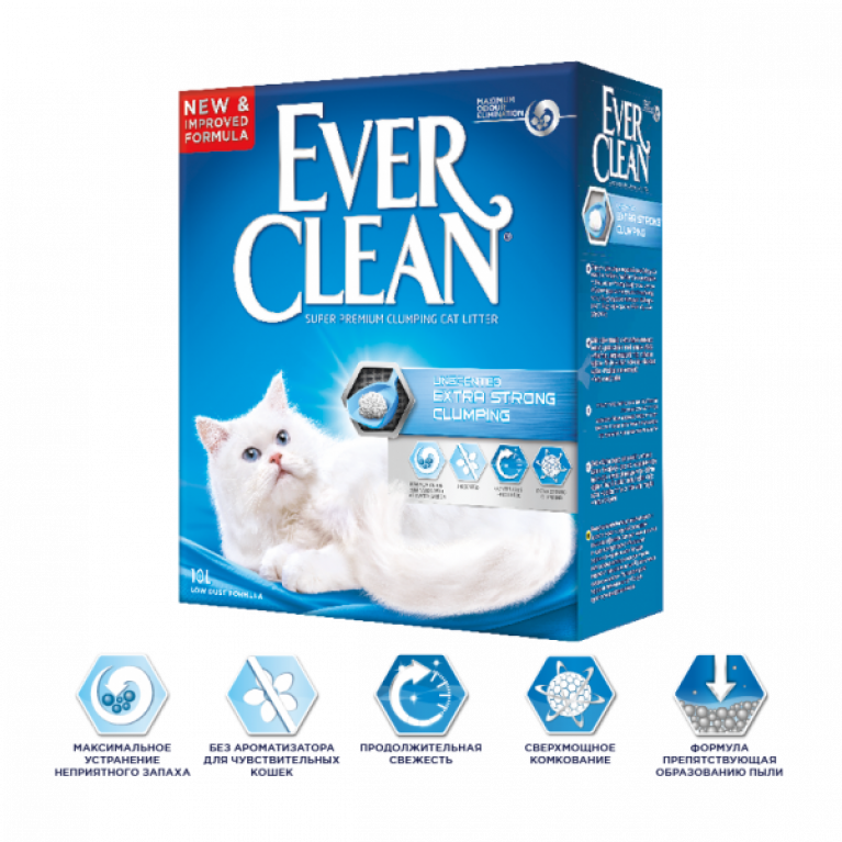 Ever Clean Unscented Extra Strong Clumping Наполнитель комкующийся без ароматизатора 10 л