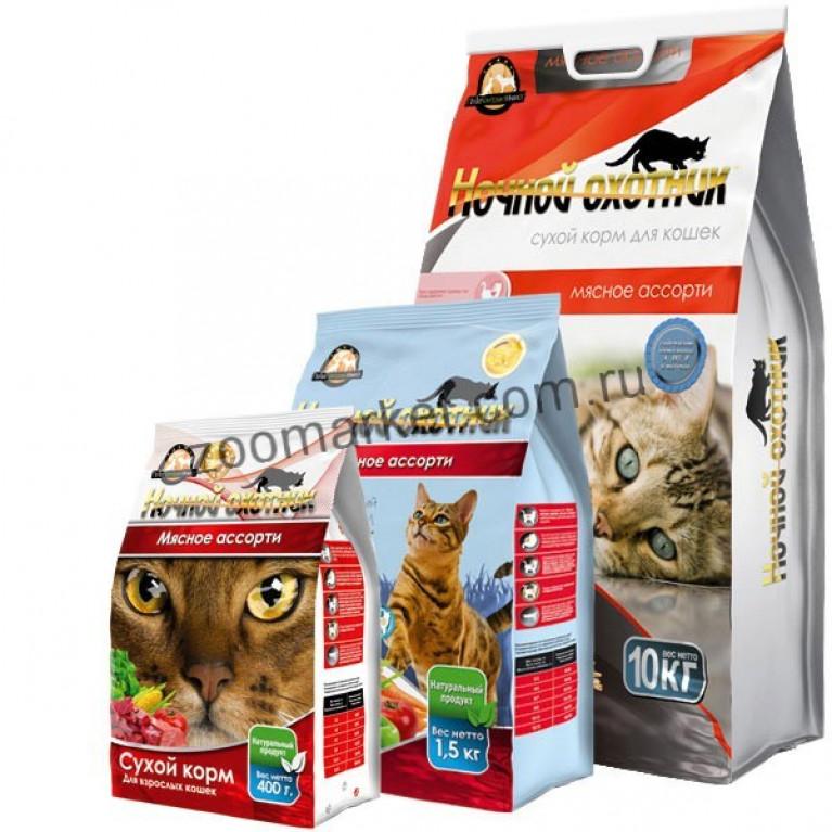 Ночной охотник Сухой корм для кошек (Мясное Ассорти)