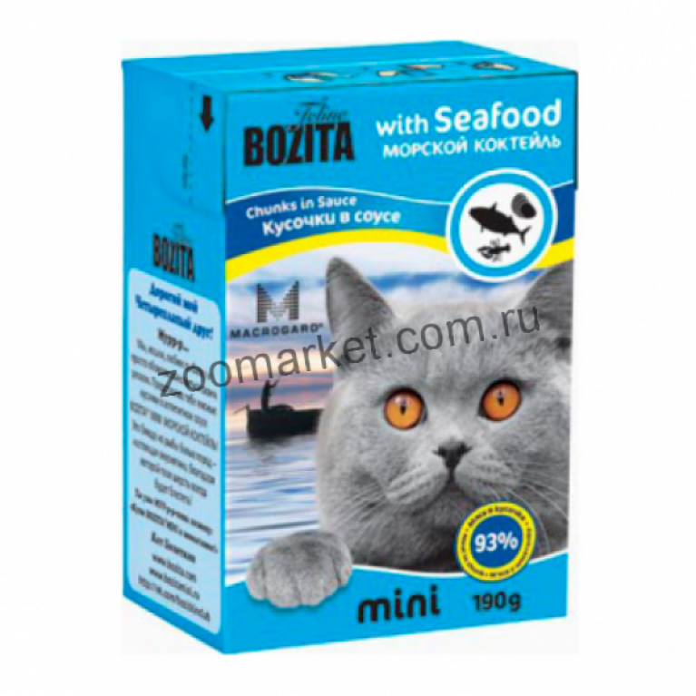 Bozita Mini Консервы для кошек (кусочки в соусе морской коктейль) 190гр