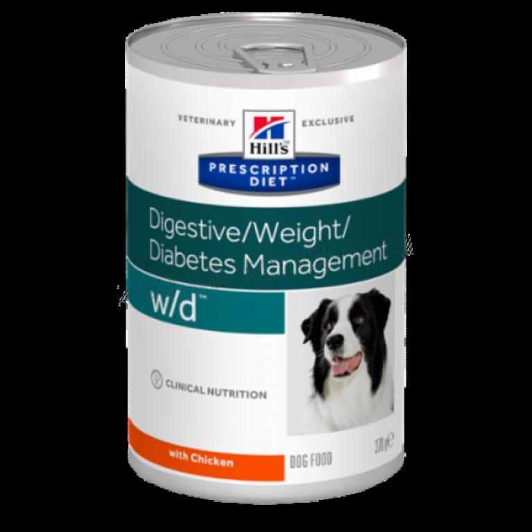 Hill's Prescription Diet W/D Консервы для собак лечение сахарного диабета, запоров, колитов, контроль веса 370 г