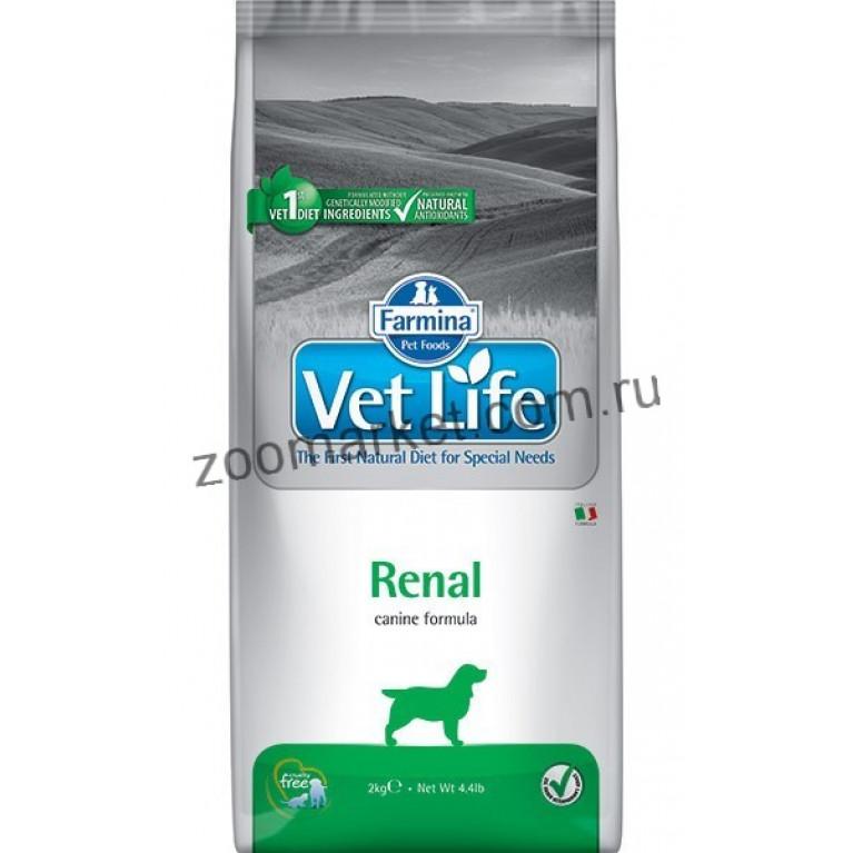 Farmina Vet Life Dog Renal Диетическое питание для собак для поддержания функции почек, в случаях почечной недостаточности