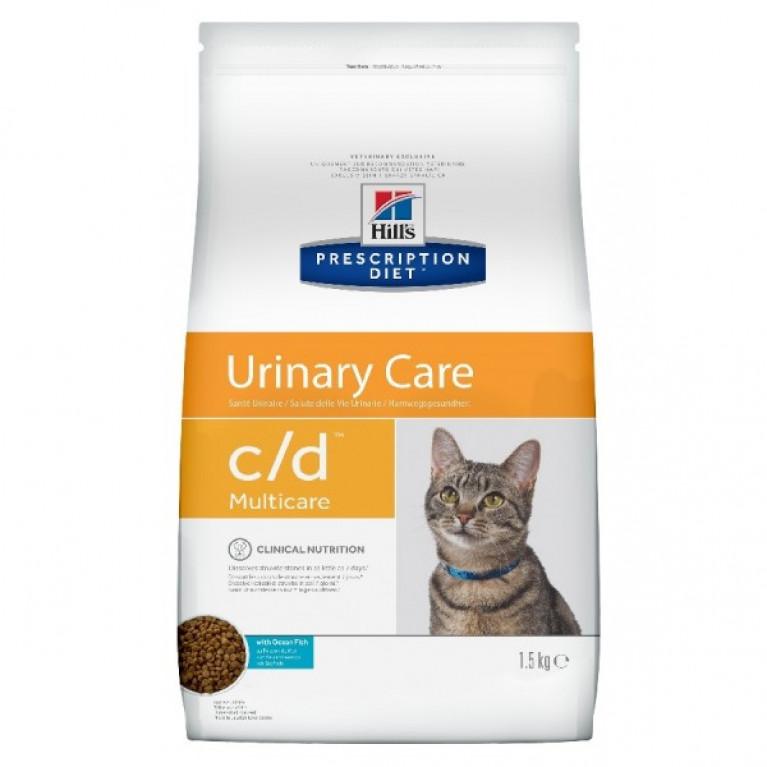Hill's Prescription Diet С/D  Сухой корм для кошек профилактика МКБ (Рыба) 1,5 кг