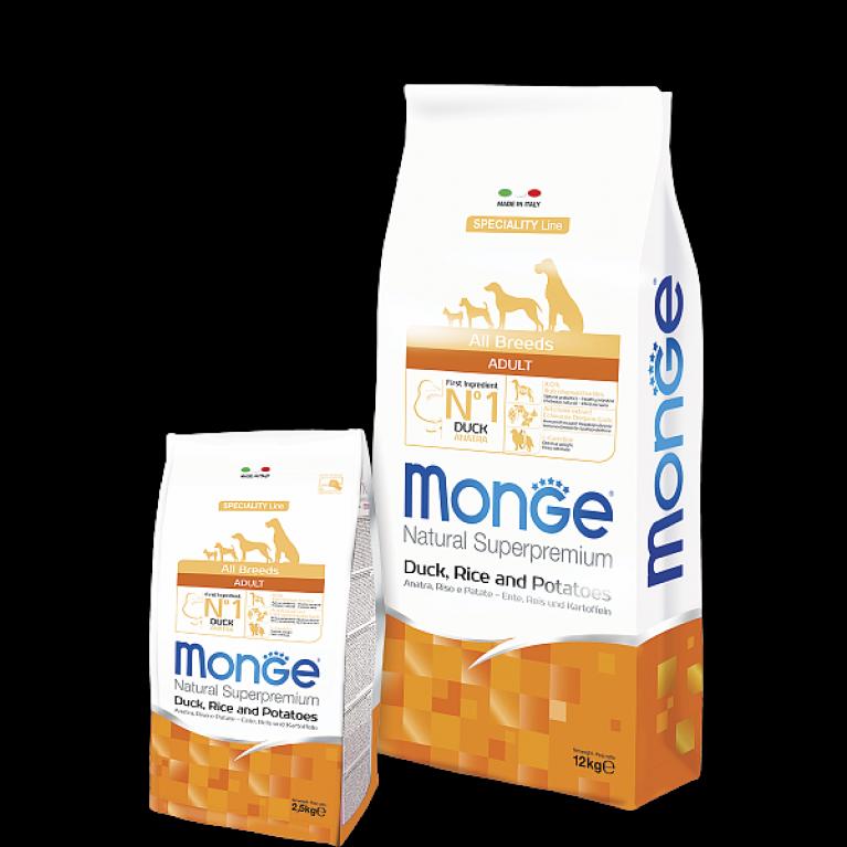 Monge Dog PFB Speciality 26/16 для собак всех пород (Утка, рис, картофель) 15 кг