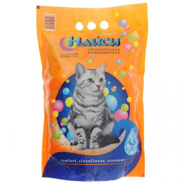 """Найси """"Super"""", силикагелевый, наполнитель для кошачьего туалета 4,5 л"""