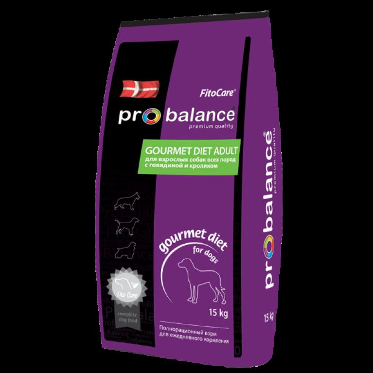 """ProBalance """"Gourmet Diet"""" для взрослых собак всех пород, с говядиной и кроликом для гурманов, 15 кг"""