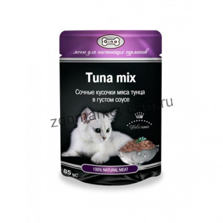 GINA Cat/Консервированный корм для кошек (Тунец в густом соусе) 85 гр