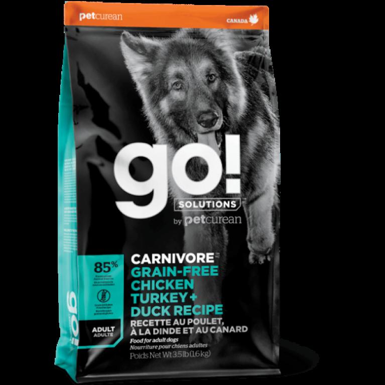 GO! CARNIVORE GF Chicken,Turkey + Duck Adult Recipe DF Беззерновой для Взрослых Собак всех пород 4 вида мяса: Индейка, Курица, Лосось, Утка