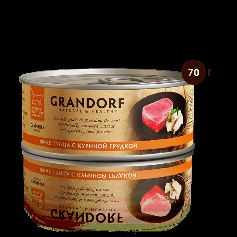 Grandorf консерва для кошек Филе тунца с куриной грудкой 70 г