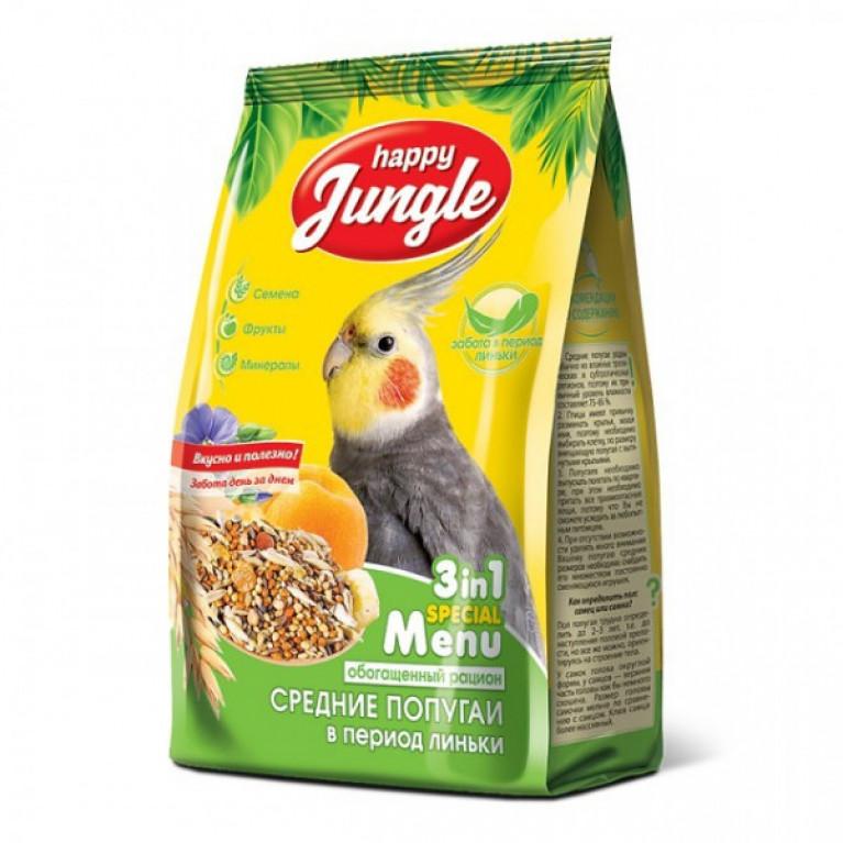Happy Jungle Корм д/средних попугаев в период Линьки 500гр
