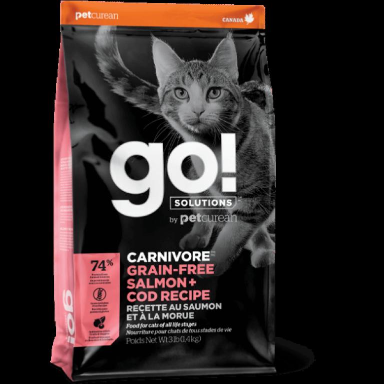 GO! CARNIVORE GF Salmon + Cod Recipe for Cats Беззерновой корм для Котят и Кошек с Лососем и Треской