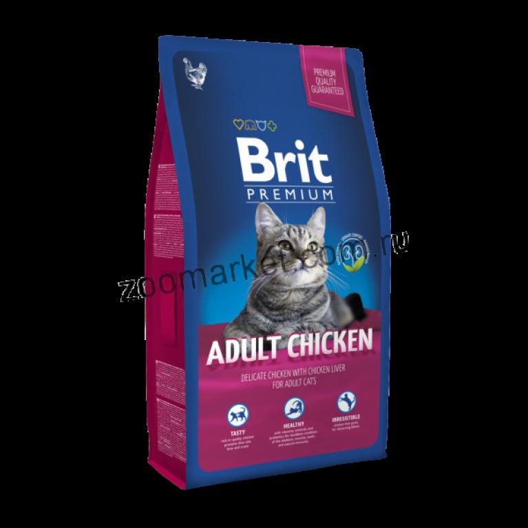 Brit Premium Cat Adult Chicken/Сухой полнорационный корм премиум-класса с курицей и соусом из куриной печени для взрослых кошек