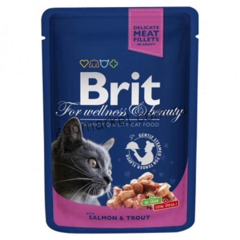 Brit Premium/Высококачественный влажный корм с лососем и форелью для взрослых кошек, 100 гр 6 шт.