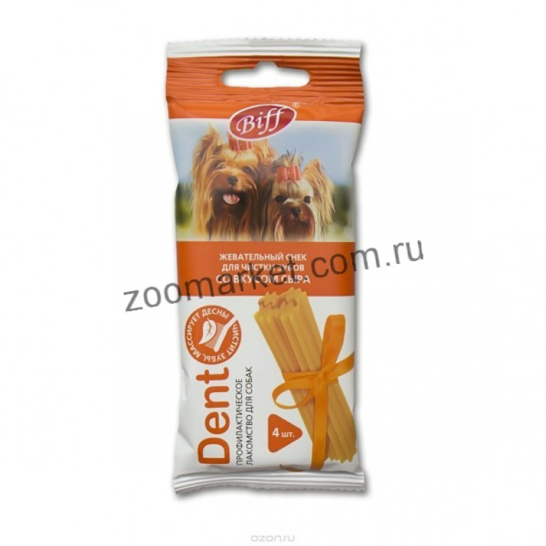 Biff Dent Жевательные снеки со вкусом сыра (для мелких собак) 4 шт.