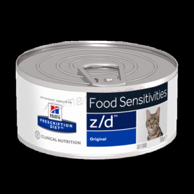 Hill's Prescription Diet Z/D Консервы для кошек лечение острых пищевых аллергий 156 гр
