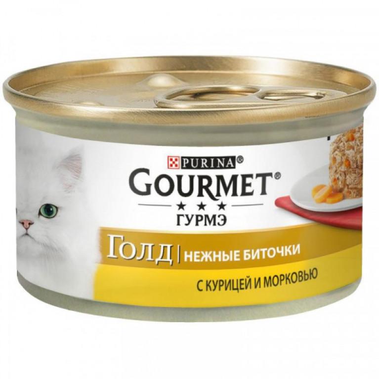Gourmet Gold Консервы для кошек Нежные Биточки (Курица/Морковь) 85 гр