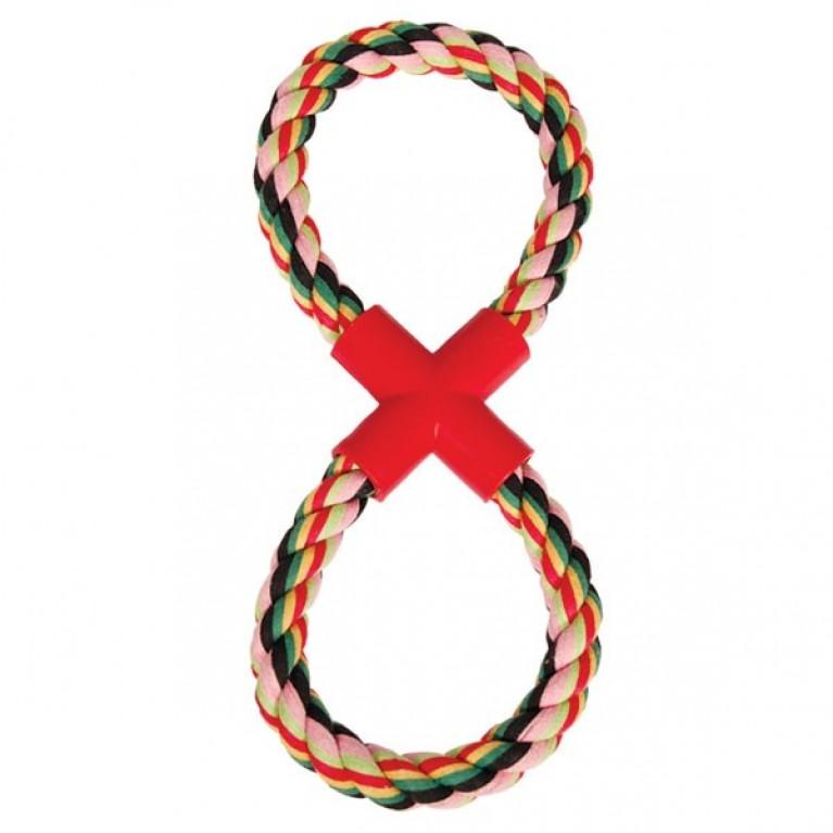 Игрушка веревка-восьмёрка цветная для собак, хлопок 32см