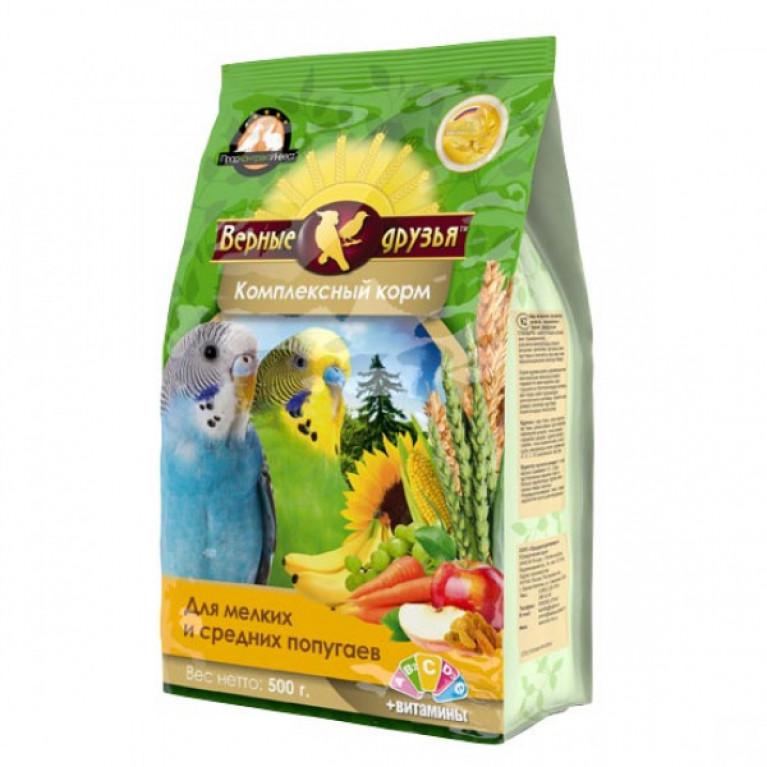 Верные Друзья корм для мелких и средних попугаев 500гр ( мягкая упаковка)