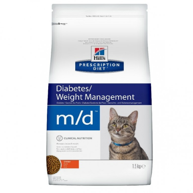 Hill's Prescription Diet m/d Сухой корм для котов  лечение сахарного диабета, ожирение 1,5 кг