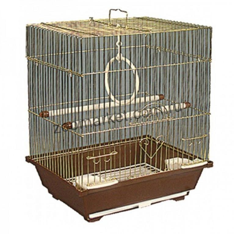 ЗК/Клетка для птиц Ср Квадр.крыша 35*28*46см Золото
