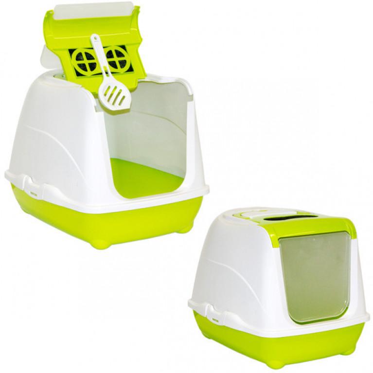 МОДЕРНА ФЛИП КЭТ закрытый туалет для кошек, с откидной крышкой, 50х39х37 см .цвет Лимонный