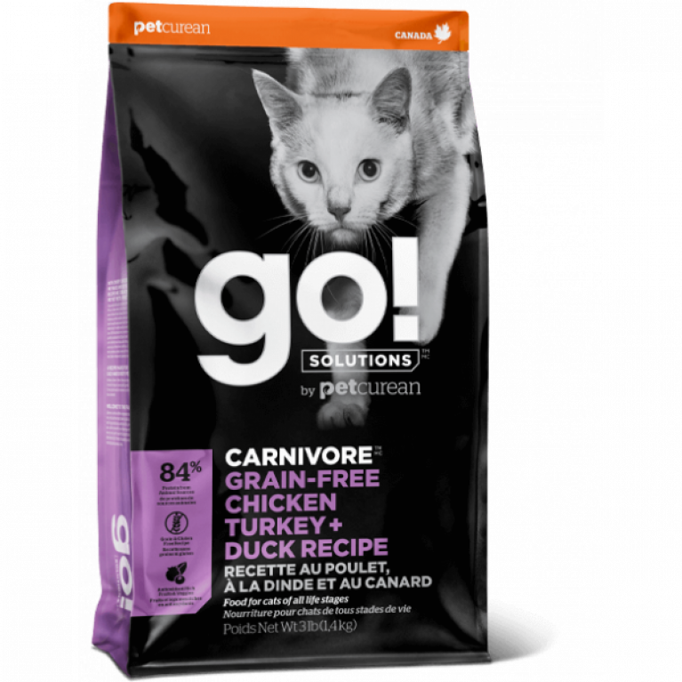 GO! CARNIVORE GF Chicken, Turkey + Duck Recipe CF Беззерновой корм для Котят и Кошек - 4 вида Мяса: Курица, Индейка, Утка и Лосось