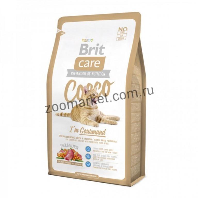 Brit Care Cat Cocco/Высококачественный гипоаллергенный беззерновой корм с мясом утки и лосося для взрослых кошек