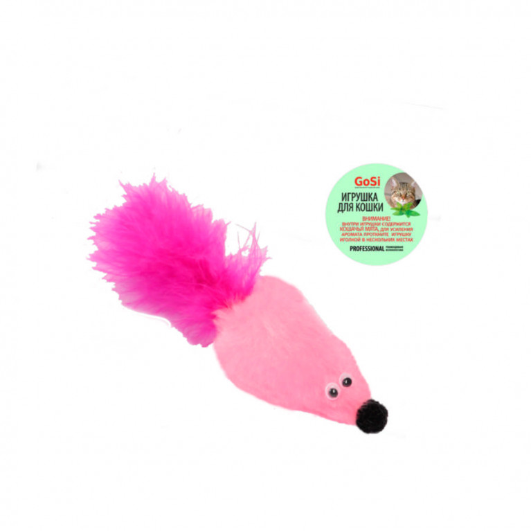 """GoSi Игрушка """"Мышь с мятой Розовый  мех с хвостом перо"""