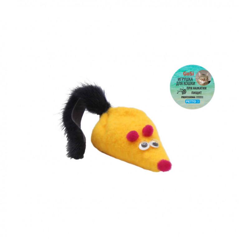 """GoSi Игрушка """"Мышка желтая  с пищалкой"""