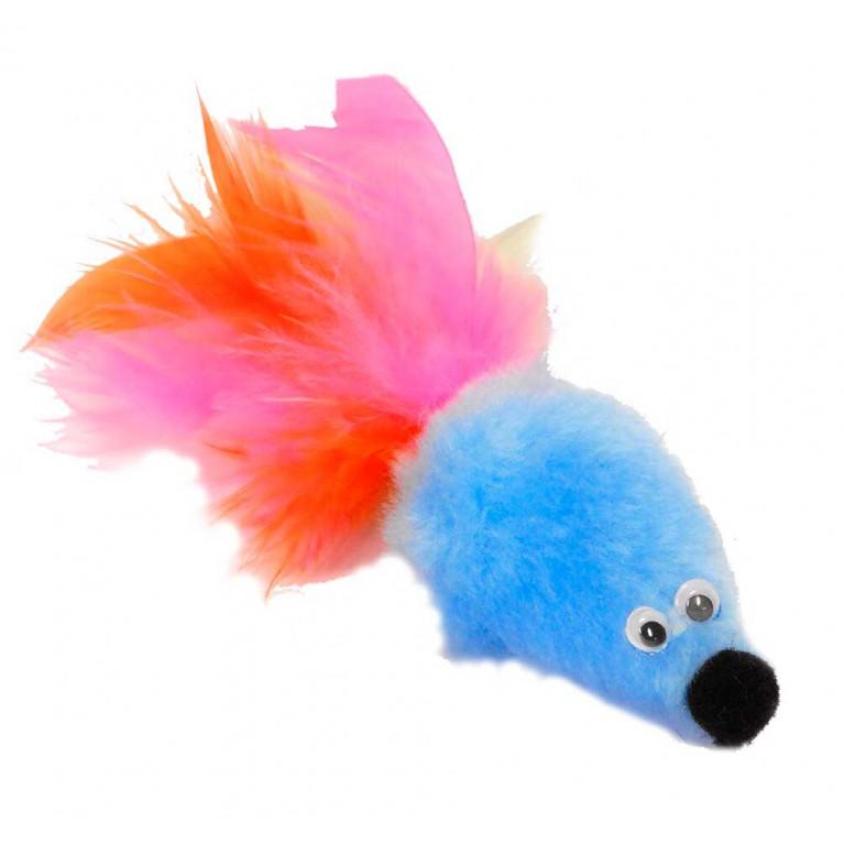 """GoSi Игрушка """"Мышь с мятой Голубой мех с хвостом перо  пышное"""