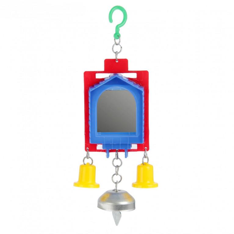 Игрушка для птиц зеркало двойное с металлическим и пластиковыми колокольчиками № 2 микс цветов