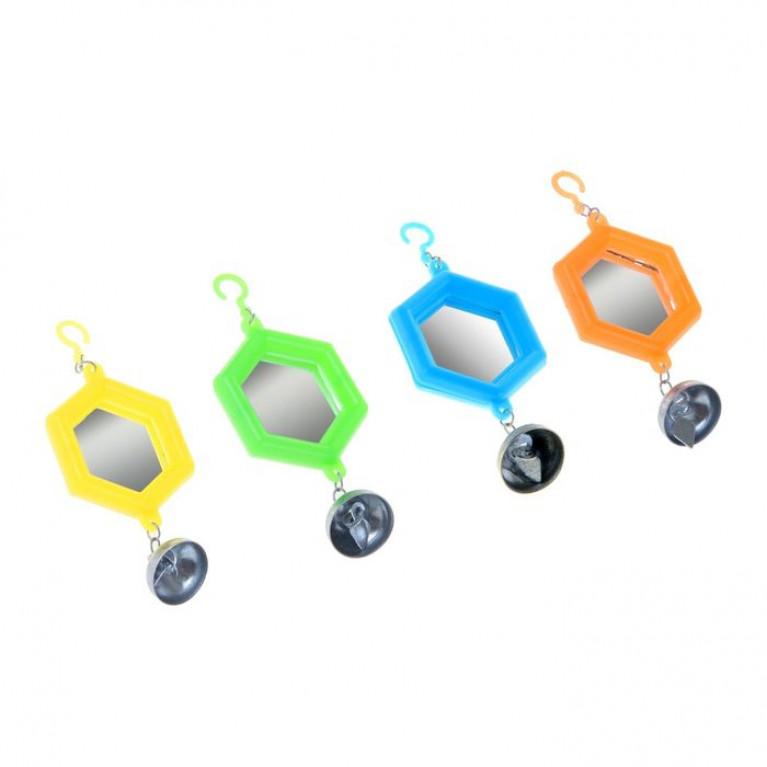 Игрушка для птиц зеркало с металлическим и пластиковыми колокольчиками № 2 микс цветов