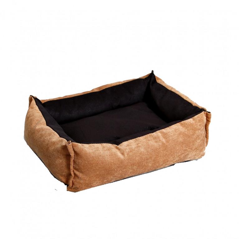 Лежанка под замшу с двусторонней подушкой, 45 х 35 х 11 см, мебельная ткань, микс цветов