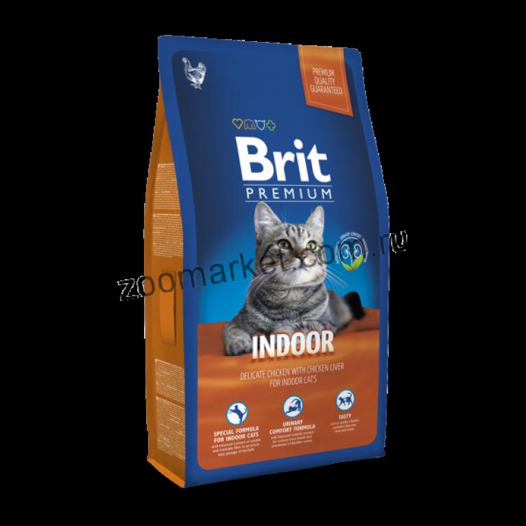 Brit Premium Cat Indoor/Полнорационный сухой корм для домашних кошек (Курица/печень)