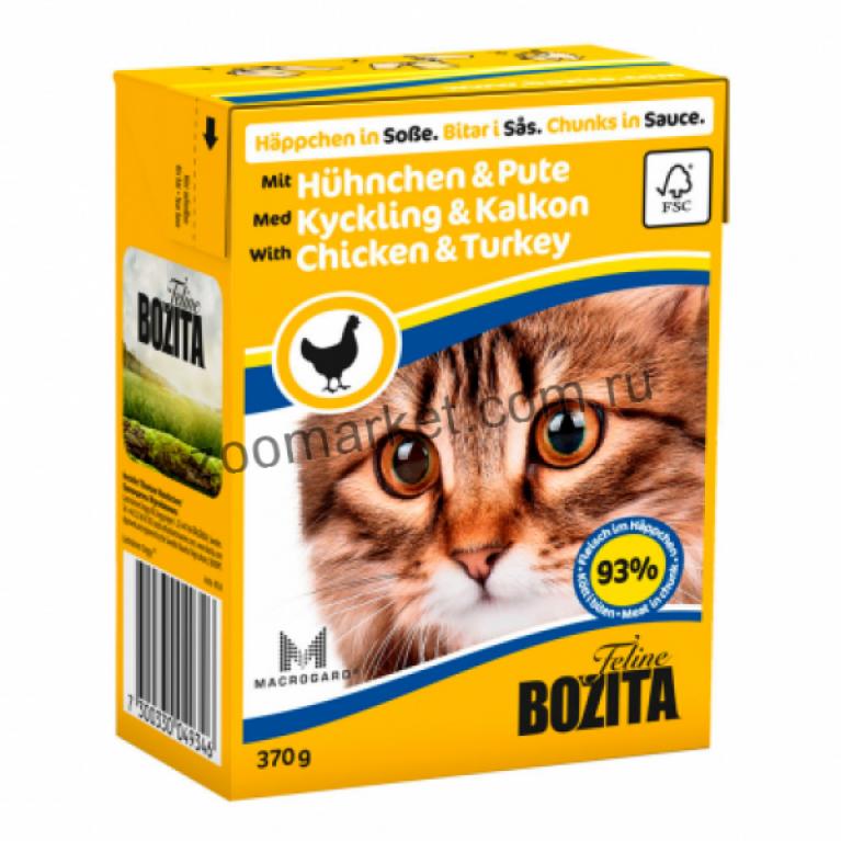 Bozita Консервы для кошек (кусочки в соусе Курица/Индейка) 370 гр