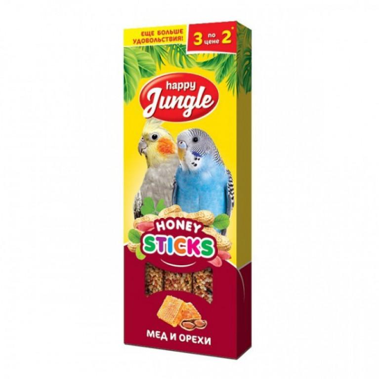 Happy Jungle Колба для птиц Мёд и Орехи (3 палочки) 90г