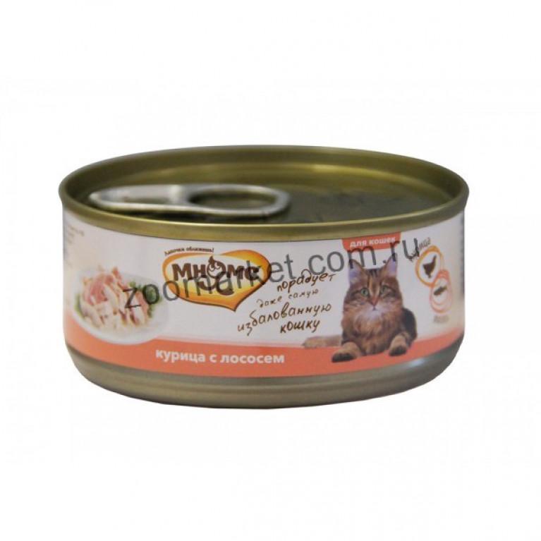 Мнямс Консервы для кошек (Курица с лососем в нежном желе) 70 гр