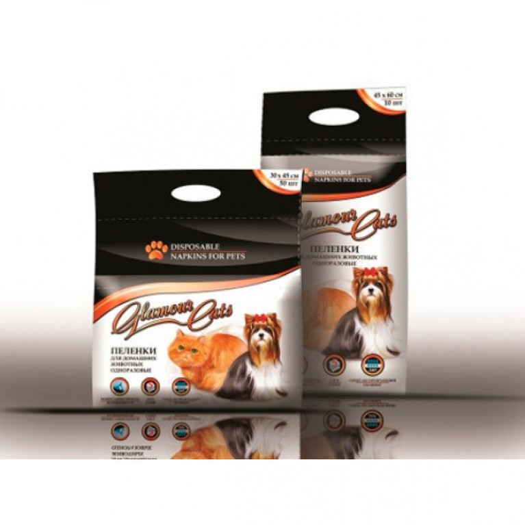 Glamour Cats Пеленки впитывающие гелевые 45*60см,10шт