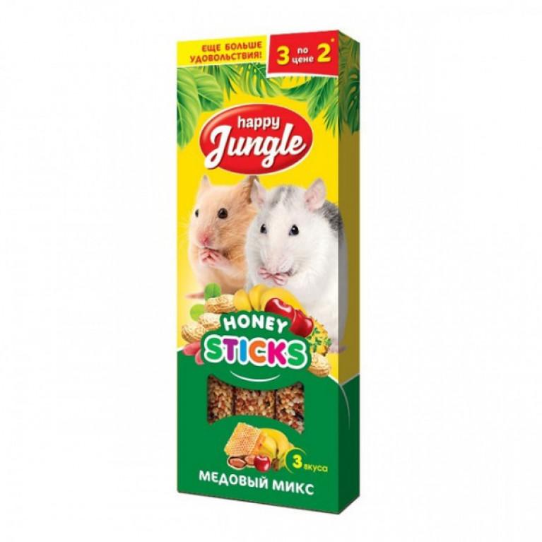 Happy Jungle Колба для мелких грызунов Мёдовый Микс (3 палочки) 90г