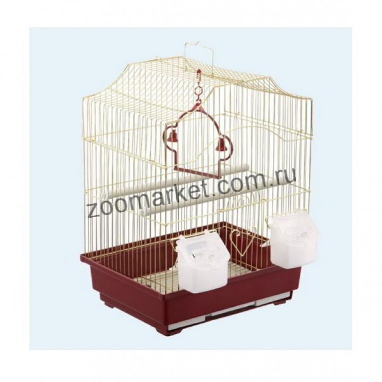 З/К/Клетка для птиц М Фируг.крыша 30*23*39см Золото