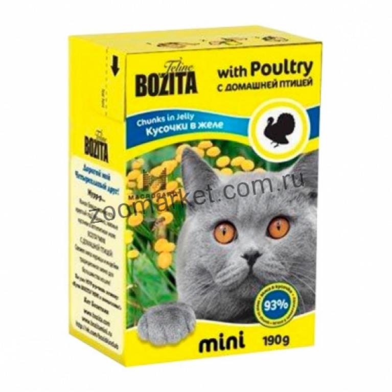 Bozita Mini Консервы для кошек (кусочки в желе Домашняя птица ) 190 гр